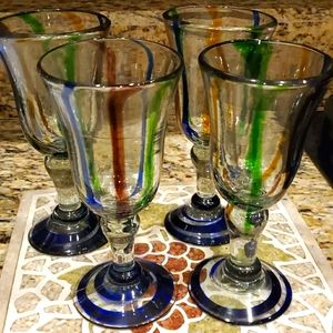 Hand Blown Glass Goblets One of a kind